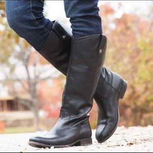 FRYE Black Melissa Button Tall Riding Boots 7